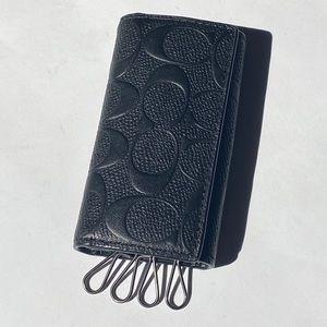 Coach Leather Embossed Logo Cardholder & Keyholder